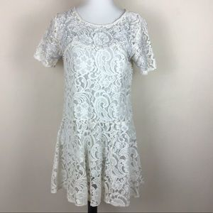 Free People cream and blue lace overlay dress M